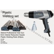 Plastic welding kit: STEINEL Hot air gun, plastic welding rods, reduction nozzle, mesh